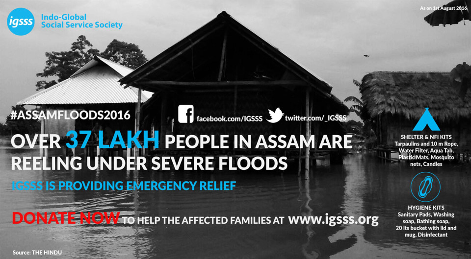 Over 37 Lakh People in Assam are reeling under severe floods