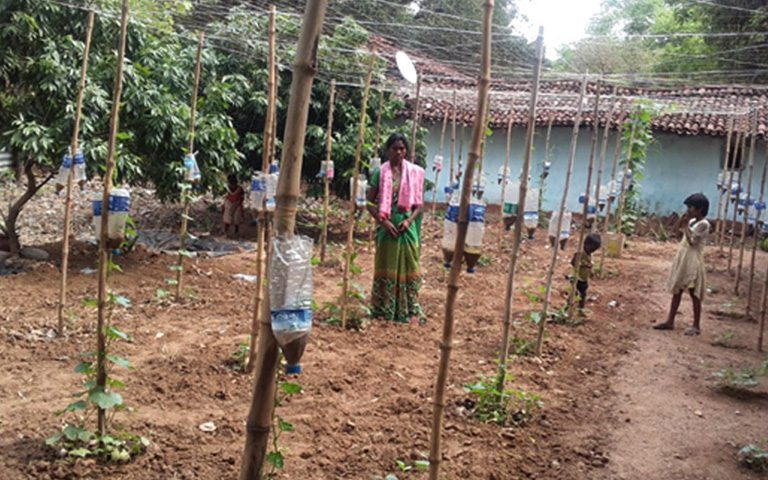 Low cost drip irrigation in drought prone areas: use of single used plastic water bottle
